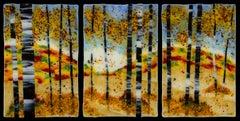 Welcome Autumn Sunrise- kiln formed glass landscape triptych