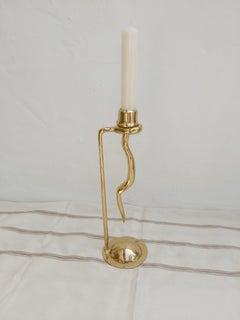 Brass Snake Candelabra designed and produced by David Marshall