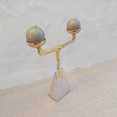 Pyramide Candelabra II designed by DM,  handmade, sand cast brass and aluminium