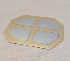 Octagonal Place Mat, designed by DM, handmade, sand cast brass and aluminium