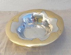 Flower sweet bowl, designed by DM, handmade, sand cast aluminium and brass