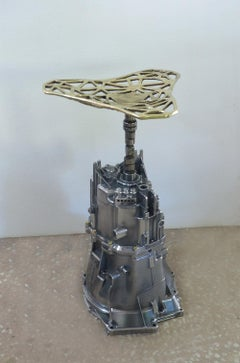 HOCKENHEIM STOOL, UPCYCLED GEARBOX, SAND CAST BRASS SEAT, UNIQUE PIECE BY DM