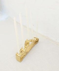 ABSTRACT MENORAH designed by DM, handmade, sand cast brass