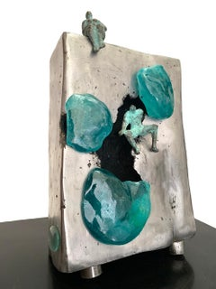 Ice Caving- Kiln casted glass and Casted aluminum tabletop sculpture