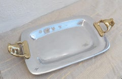 Rectangular Tray E002 designed by David Marshall, sand cast brass and aluminium