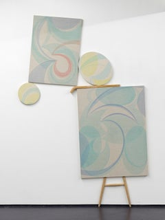Untitled / abstract, constructivist, modern painting, installation, yellow, blue