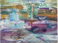 Isometrics 1 / landscape, city, figurative, conceptual, contemporary, watercolor