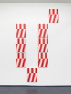 Untitled / white, red, abstract, conceptual, multipart painting, stripes, relief