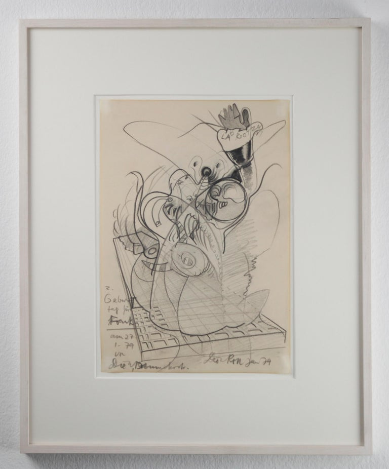 Dieter Roth Figurative Art - Ohne Titel / Untitled // Pencil on paper // signed by Roth // dedicated to Frank