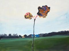"""""""Casting 'Mood'"""" / Oil, canvas, landscape, Belgian, green, blue, homeland,flower"""