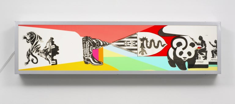 Nic Hess Abstract Sculpture - Alfa Romeo and Juventus / light box, neon, advertising, deconstruction, nike