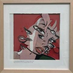 """""""Frightened Girl"""" / Collage, Roy Liechtenstein, Pop Art, Cubism, books, red"""