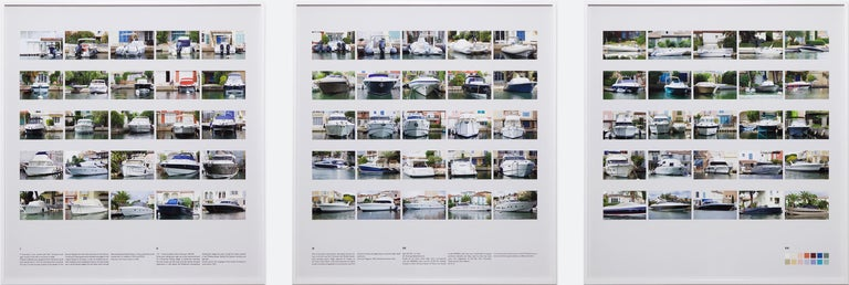 "Rebecca Ann Tess Color Photograph - ""Port Grimaud I II III"" / Color photography, boat, house, Côte d'Azur, Ed Ruscha"