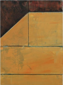 """Untitled(Community)88"" / Minimal painting, relief, ochre and red, perspective"