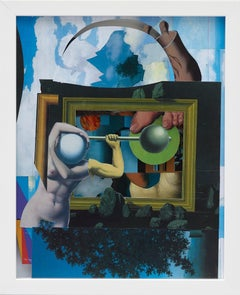 """""""Uhu Schuhu"""" / Collage with cut-outs from Magritte-reproductions, appropriation"""