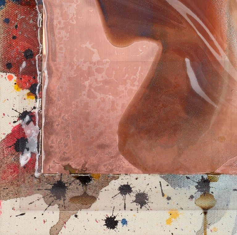 shattered earth (4) / assemblage, copper, issey miyake, ecology, climate change - Contemporary Painting by Silke Albrecht