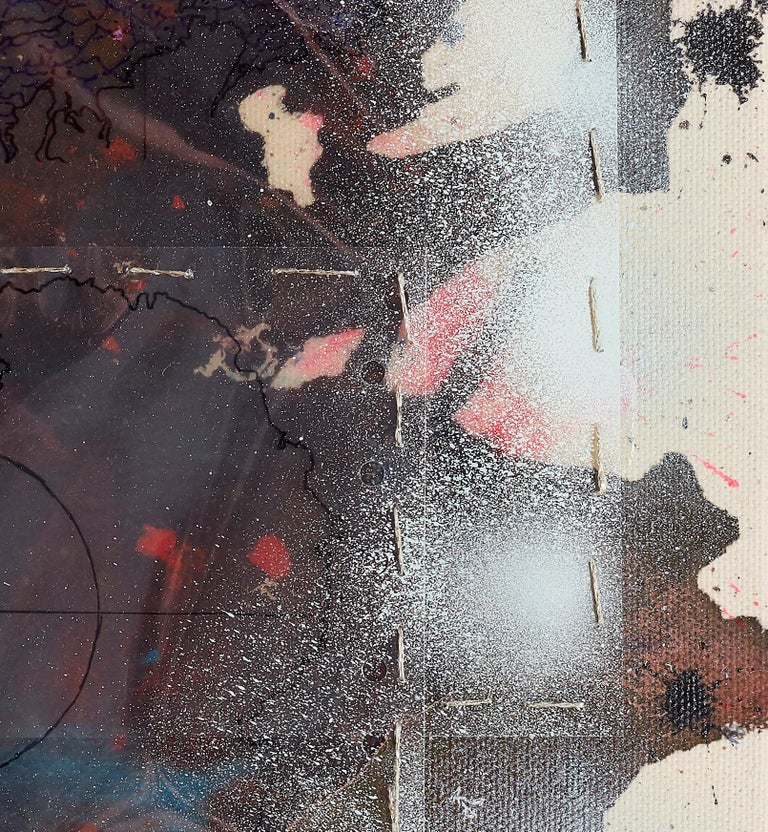 shattered earth (4) / assemblage, copper, issey miyake, ecology, climate change - Brown Abstract Painting by Silke Albrecht