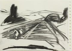 """""""Untitled"""" / charcoal drawing, expressionist style; landscape; figuration, Dodge"""