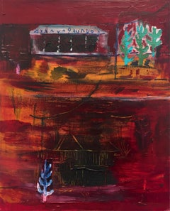 """AQUA"" / landscape, figurative, conceptual, contemporary, red, oil painting"