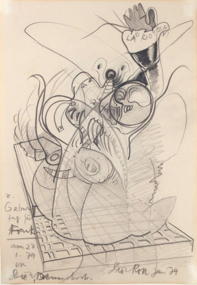 Ohne Titel / Untitled // Pencil on paper // signed by Roth // dedicated to Frank - Art by Dieter Roth