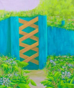 """BLUE BORDER WALL"", oil painting on canvas, blue, green, violet, flowers & gate"
