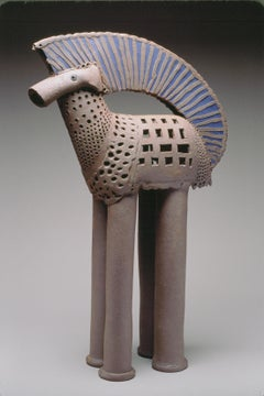 """""""BLUE HANDLE HORSE"""", stoneware clay sculpture, blue clay inlay, storybook equine"""