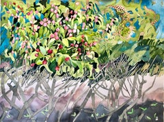 """APPLE BLOSSOM AND YEW"", watercolor, flowers, tree, berries fruit, flora pattern"