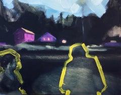 """Neighbors... So Long"", oil painting, landscape, home, people, dusk, trees, sky"