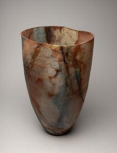 """""""Desert Orchid"""", ceramic sculpture, porcelain vase, earth, saggar fire, kintsugi"""