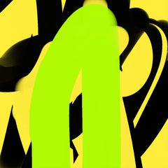 """FOR YOUR SAFETY 04072018 458pm"", Abstract, Digital Print, Green, Black, Yellow"
