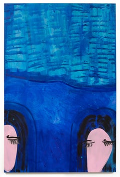 """""""SISTERS"""", Abstract, Figurative Painting, Acrylic on Canvas, Women, Blue Water"""