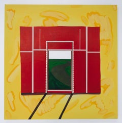 """""""PHONY FRAME"""", Abstract Painting, Acrylic and Collage on Canvas, Red, Yellow"""