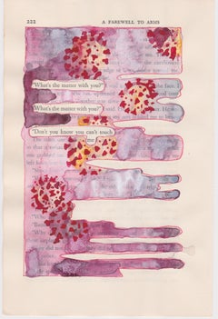 """""""#222 – YOU CAN'T TOUCH ME"""", ink, pencil, gouache, found book, poetry, virus"""