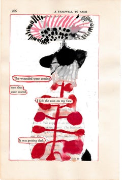 """""""#186 – WOUNDED WERE COMING"""", ink, pencil, gouache, found vintage book, poetry"""