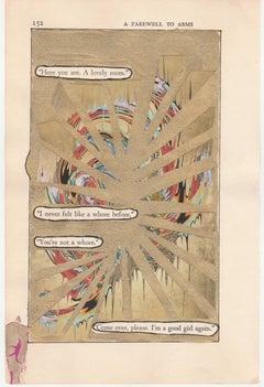 """#152 – GOOD GIRL"", ink, pencil, gouache, found vintage book, hemingway, poetry"