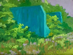 """BLUE WALL"", oil painting on panel, impasto, blue, green, violet, border, ruin"