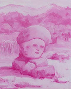 """DUAL CITIZEN"", oil painting on panel, two heads, faces, rose, pink, landscape"
