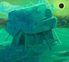 """ECLIPSE"", oil painting on canvas, hut, habitat, home, sun, moon, migration"