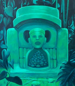 """HABÍA ANTES"", oil painting on canvas, shrine, green, jungle, skull, coronavirus"