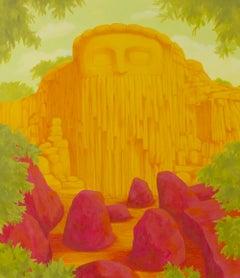 """HIERVE EL AGUA"", oil painting on canvas, rock, Oaxaca, landscape, Zapotec, god"