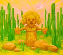"""""""LA VIRUELA"""", oil painting on canvas, deity, masks, cactus, green, gold, virus"""