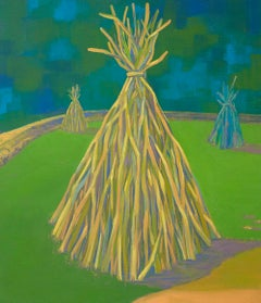 """""""TEE-PEES"""", oil painting on canvas, habitat, home, shelter, storm, wood, blue"""