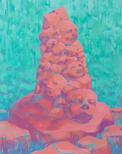 """""""TOTEM"""", oil painting on canvas, archeology, stone, grass, red, turquoise, ruin"""
