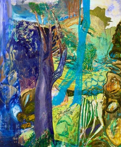 """""""GREATER DISTANCE"""", silkscreen, oil painting on birch panel, landscape, abstract"""