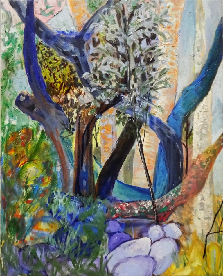 """Cecilia Whittaker-Doe Abstract Painting - """"SAPLINGS"""", oil paint on canvas, landscape, abstract, forest, flowers, trees"""