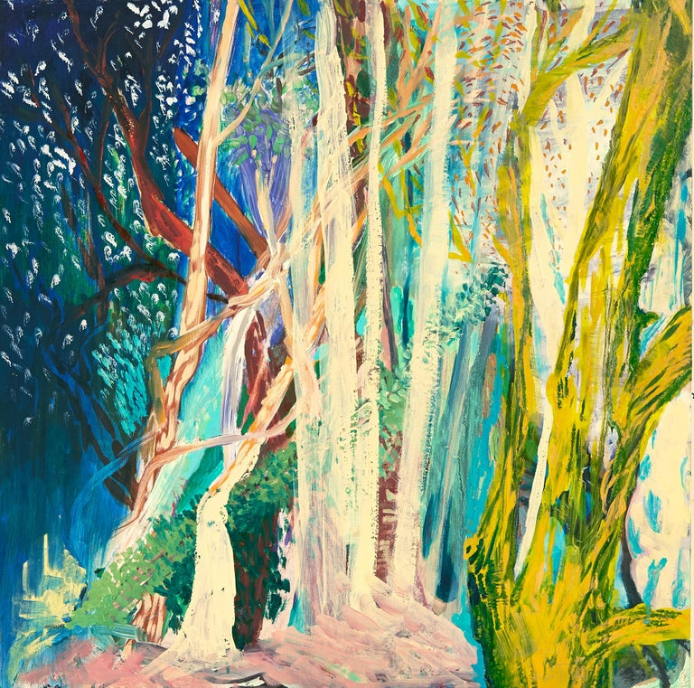 "Cecilia Whittaker-Doe Landscape Painting - ""NIGHT VISION"", oil paint on birch panel, landscape, abstract, forest, stars"