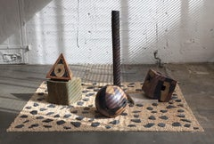 """CUBE, PYRAMID & SPHERE"", sculpture, clay, abstract, geometric, installation"