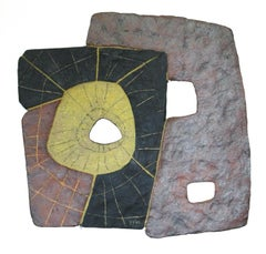 """BLACK, BROWN & GOLD"", sculpture, clay, relief, abstract, contemporary, ceramic"