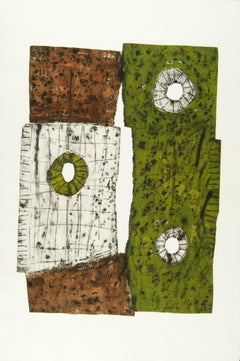 """OWL ROCK"", print, hand-tooled aluminum intaglio, abstract contemporary, etching"