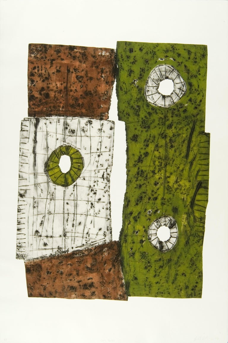 """OWL ROCK"", print, hand-tooled aluminum intaglio, abstract contemporary, etching - Mixed Media Art by Harold Wortsman"